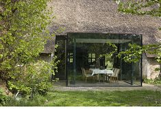 Farmhouse Architecture, Interior Architecture, Porch Veranda, Glass Room, Stone Barns, Thatched Roof, Home Technology, Modern Barn, Modern Glass