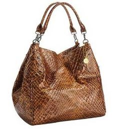 Big Buddha Union Python Brown Handbag, faux croco printed multi-functional tote bag with silver hardware detail.