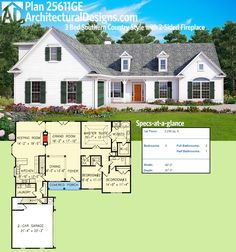 Architectural Designs Exclusive House Plan 25611GE gives you 3 beds, a 2-sided fireplace and expansion over the garage if needed. Ready when you are. Where do YOU want to build?