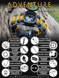 "Wazoo Survival Gear's, top of the line, Adventurer Survival Bracelet with more ""STUFF"" in such a small package than any other survival bracelet on the planet! - http://wazoosurvivalgear.com/product_info.php/bracelets-adventure-paracord-survival-bracelet-p-68"