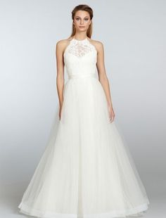 Bridal Gowns: Tara Keely A-Line Wedding Dress with High Neck Neckline and Natural Waist Waistline