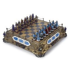 A Hungarian Parcel-gilt Silver and Enamel Chess Set, century - Sothebys Chess Set Unique, Art Through The Ages, Chess Pieces, Mind Games, World Cultures, White Enamel, Art And Architecture, Board Games, Auction