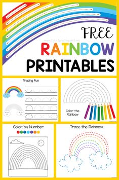 Free Rainbow Printable Pack for Kids! Have fun exploring colors with this free set centered around rainbows. Tracing, coloring, connect the dots, color by number and more! #1plus1plus1 #homeschool #homeschooling #freeprintablesforkids #kidsactivities #kidsprintables  #earlychildhood #preschoolactivities #homeschoolpreschool #kindergartenworksheets