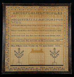Antique 1854 JOHN GAULT FAMILY Genealogy SAMPLER Ohio ELIZA w HOUSE Orig FRAME