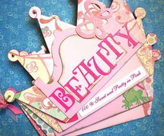 Scrapbook Album Princess Beauty Crown by CreativeZone using the Maya road AccuCut Crown and Bare Elements Reyna Castle dies. Super Cute Chipboard Album!