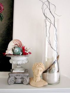 Anythingology: tall glass container w/ curly willow