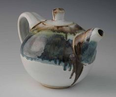 ceramic teapots | ceramic teapot, white and teal | Pottery