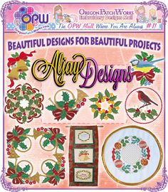 Beautiful machine embroidery designs, for beautiful project results from Aljay Designs!