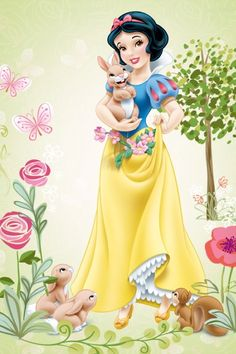 Snow White and her bunny rabbit with her animal friends
