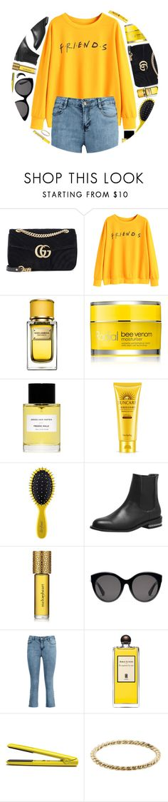 """""""Friends"""" by monmondefou ❤ liked on Polyvore featuring Gucci, Dolce&Gabbana, Rodial, Frédéric Malle, Drybar, Strangelove NYC, Serge Lutens, GHD, Luna Skye and yellow"""