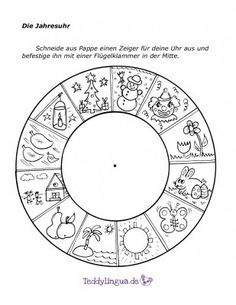 The annual clock- Die Jahresuhr The annual clock - What Is Parenting, Kids And Parenting, Days And Months, Months In A Year, Kindergarten Portfolio, Activities For Kids, Crafts For Kids, German Language Learning, Kids Education