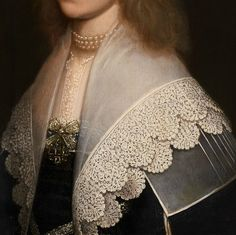 "whitehotel: "" Gerrit van Honthorst, Portrait of a lady, detail (1638) "" Pearls in paintings (and the lace)"