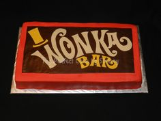 Willy Wonka chocolate bar cake. Sheet cake iced in red buttercream, with fondant label on top.