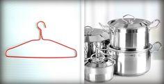 Elle utilise un cintre pour ranger ses couvercles de casseroles! BRILLANT! - Trucs et Astuces - Trucs et Bricolages