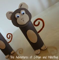 These are adorable! Great reuse craft to try with kids. Toilet Paper Roll Monkey from @jmanmillerbug.