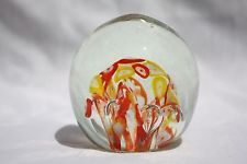 Vintage Art Glass Paperweight With bubbles  & Orange and Yellow  White Flowers