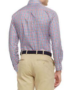 Gingham Tattersall Woven Sport Shirt, Blue/White/Pink