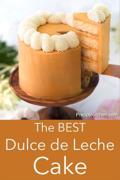 The BEST Dulce de Leche Cake This delicious Dulce de Leche cake from Preppy Kitchen has moist and fluffy brown butter layers covered in silky dulce de leche buttercream and crowned with a beautiful braid of vanilla frosting. Baking Recipes, Cake Recipes, Dessert Recipes, Easy Desserts, Delicious Desserts, Cupcake Cakes, Cupcakes, Rhubarb Cake, Star Cakes