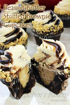 Peanut butter stuffed brownie cupcakes
