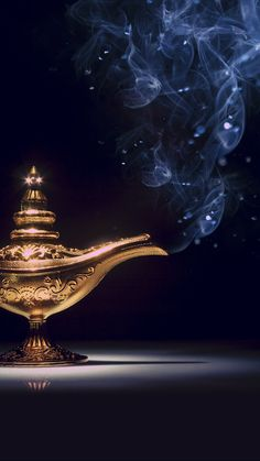 ↑↑TAP AND GET THE FREE APP! Art Creative Lamp Aladdin Magic Smoke Gold Dark Black HD iPhone 6 Wallpaper