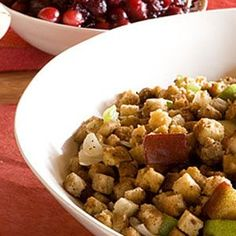 Cornbread Stuffing with Pears and Dried Cranberries