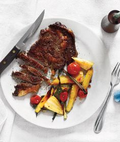 Steak With Roasted Parsnips, Tomatoes, and Scallions Recipe