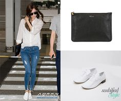 Yoona wearing skinny jeans, oxfords from Repetto, carrying a soft leather pouch from Alexander McQueen. airport fashion.