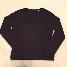 LOFT Knit Lightweight black knit vneck top.  There is no tag on this item because I removed it...itchy! LOFT Tops
