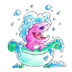 Monster of the Day #1291 Bubble Bath Monster! Scrub-a-dub-dub, a monster's in the tub! Even my monsters get smelly from time to time, especially my furrier ones- good thing they don't mind taking baths! Although this one seems to be making quite the mess while doing so - at least it's having fun! #bathtime #bubblebath #bubble #bubbles #monster #monsteroftheday #watercolor #illustration #characterdesign #watercolorandink #watercolorillustration #rubadubdub #splishsplash