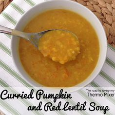 I LOVE this Curried Pumpkin and Red Lentil Soup and it is so easy to make in your Thermomix
