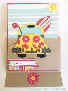 VW Bug at the beach punch art - bjl adorable Paper Punch Art, Punch Art Cards, Stampinup, Card Making Inspiration, Card Tags, Card Kit, Kids Cards, Cute Cards, Creative Cards