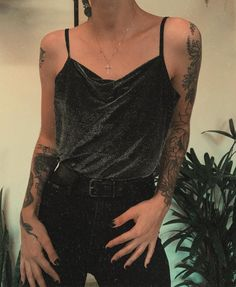 College Wardrobe, How To Look Pretty, Camisole Top, Outfit Ideas, Feminine, Street Style, Tank Tops, Storage, Tattoos