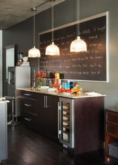 Chalkboard wall for kitchen