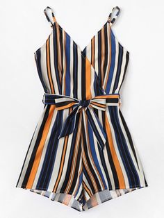 Shop Plus Striped Belted Cami Jumpsuit online. SHEIN offers Plus Striped Belted Cami Jumpsuit & more to fit your fashionable needs. Cute Summer Outfits, Cute Casual Outfits, Simple Outfits, Winter Outfits, Teen Fashion Outfits, Look Fashion, Girl Outfits, Jw Mode, Plus Size Jumpsuit