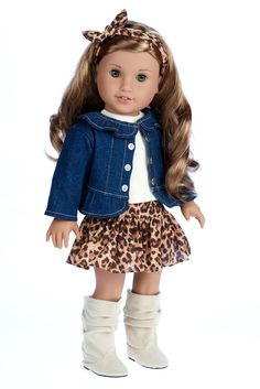 Elegant jeans jacket with ivory tank top, cheetah print skirt and ivory suede boots.    Doll outfit contains a wide back closure for easy dressing and clothing removal. Our doll clothes fits 18 inch American Girl dolls. Designed in the USA and sold Exclusively by DreamWorld Collections. DOLL(S) NOT INCLUDED U.S. CPSIA CHILDREN'S PRODUCTS SAFETY CERTIFIED