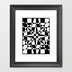 Black & White Star Framed Art Print by V. Kharuzhy
