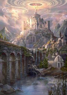 City of Old Spells by Hoàng Lập (Solan) Dark Fantasy Art, Fantasy Artwork, My Fantasy World, Fantasy Concept Art, Fantasy Art Landscapes, Fantasy City, Fantasy Castle, Fantasy Places, Medieval Fantasy