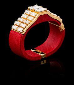 Prada | Saffiano Leather Cuff Bracelet with applied Crystals