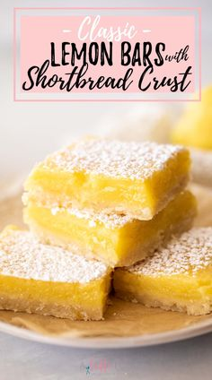These easy Lemon Bars with a shortbread crust make the best summer dessert bar recipe. They have a buttery shortbread crust that is practically melt in your mouth, and the lemon filling is creamy, slightly tangy, and perfectly sweet. Grapefruit Recipes, Citrus Recipes, Orange Recipes, Lime Desserts, Sweet Desserts, Delicious Desserts, Baking Recipes, Dessert Recipes, Best Summer Desserts
