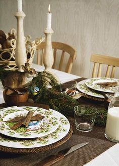 Fairytale: Iittala, Satumetsä combined with wood, and other brown things AND a rabbit a squirrel and some birds.
