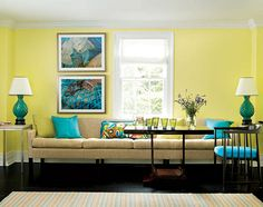 Yellow Walls With A Beige Couch And Turquoise Accents Or