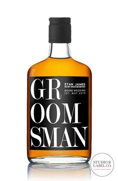Set Of 6 Groomsman Bridesmaid Best Man Liquor Wine Labels