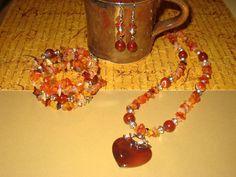 Carnelian Heart Jewellery Set