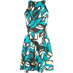 Closet Green Scuba Floral Print Racer Back Dress ($18) ❤ liked on Polyvore featuring dresses, vestidos, robe, flare mini dress, floral mini dress, racer back dress, mini dress and racerback dress