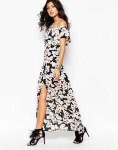 dee0c99dc61 Image 1 of Wyldr Off Shoulder Maxi Dress in Overscale Floral Spring Dresses