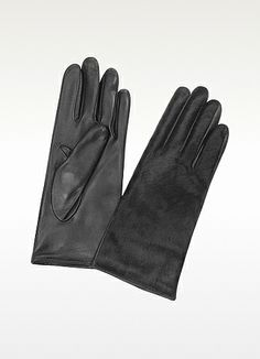 Forzieri Women's Black Pony Hair and Italian Nappa Leather Gloves on shopstyle.com
