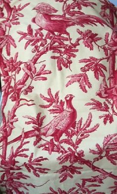 Kravet Crimson Bird Toile Fabric 1 + yards