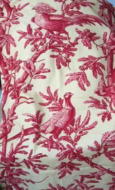 Kravet Crimson Bird Toile Fabric 1 + yards