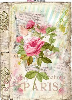 Paris and Roses Tag Decoupage Vintage, Images Vintage, Vintage Pictures, Vintage Labels, Vintage Posters, Etiquette Vintage, Vintage Paris, Paper Cards, Vintage Flowers
