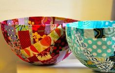 Scrap Fabric covered paper mache bowls by iris-flower